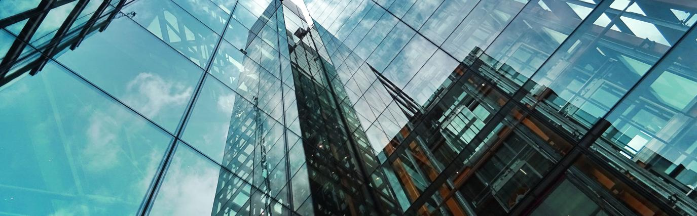 Reflections in glass panes of building