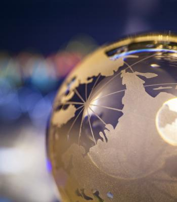 Globe with light reflecting