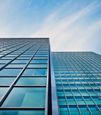 Tall glass buildings